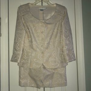 Two piece Ivory and Silver skirt and jacket set